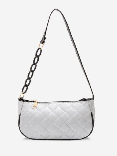 Lattice Quilted Half Chain Rectangular Shoulder Bag - Silver