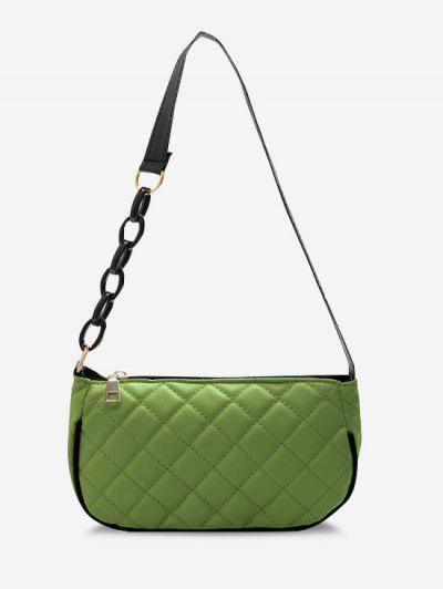 Lattice Quilted Half Chain Rectangular Shoulder Bag - Avocado Green