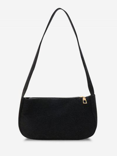Solid Corduroy Casual Mini Shoulder Bag - Black