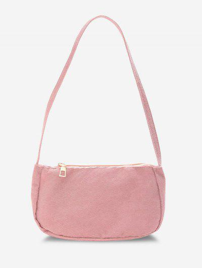 Solid Corduroy Casual Mini Shoulder Bag - Pig Pink