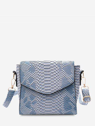 Snake Embossed Flap Square Crossbody Bag - Coral Blue