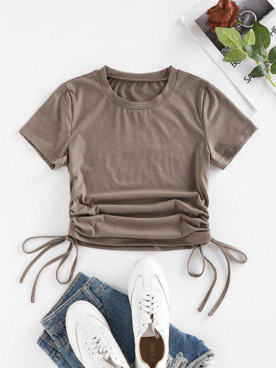 Cinched Side Short Sleeve T Shirt - Light Coffee M