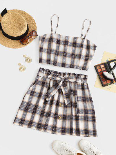 ZAFUL Plus Size Checked Smocked Back Two Piece Dress - Multi L