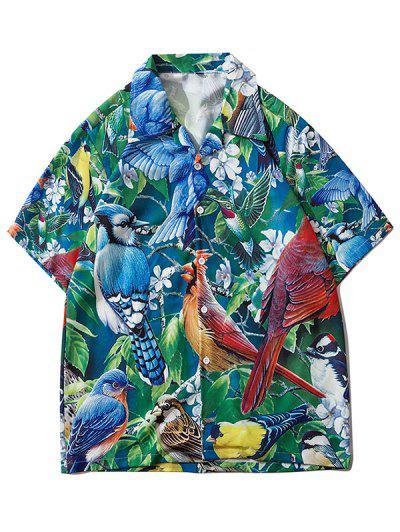 Camisa De Vacaciones Con Estampado Tropical De Loro - Verde Primavera Mediana L