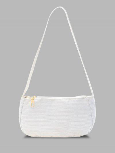 Solid Corduroy Casual Mini Shoulder Bag - White