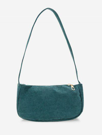 Solid Corduroy Casual Mini Shoulder Bag - Peacock Blue