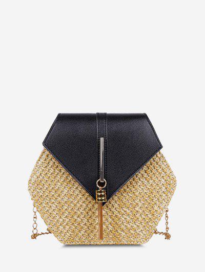Hexagon Woven Tassel Flap Crossbody Bag - Black