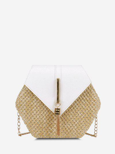 Hexagon Woven Tassel Flap Crossbody Bag - Milk White