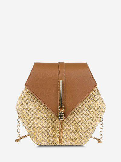 Hexagon Woven Tassel Flap Crossbody Bag - Light Brown