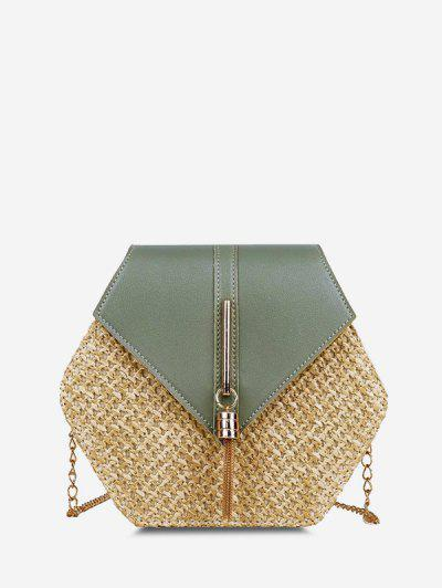 Hexagon Woven Tassel Flap Crossbody Bag - Light Green
