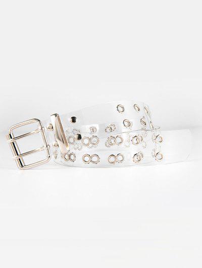 Dual Row Grommet Transparent Belt - Silver