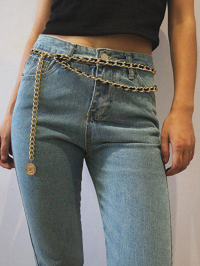 Coin Pendant Layered Waist Chain - Golden