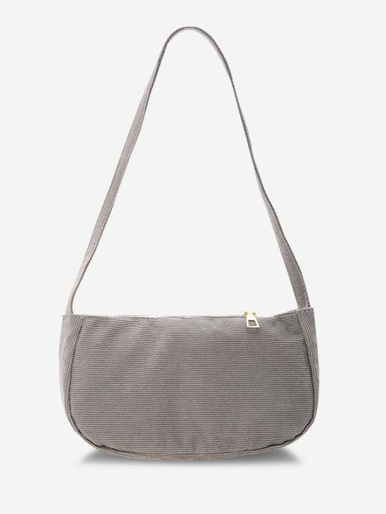Solid Corduroy Casual Mini Shoulder Bag