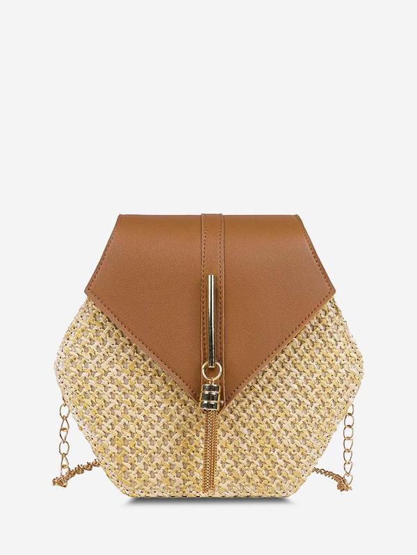 Hexagon Woven Tassel Flap Crossbody Bag