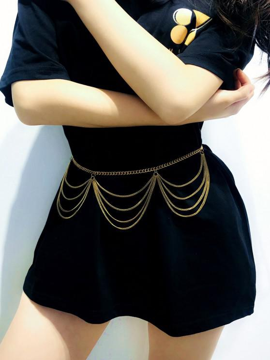 lady Wavy Layered Waist Chain - GOLDEN