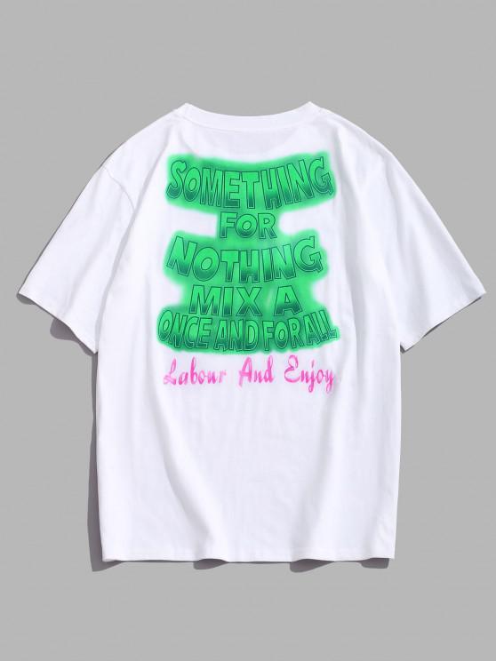 best ZAFUL Ombre Letter Print Slogan T-shirt - WHITE M