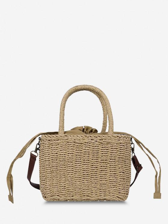 sale Hemp Woven Drawstring Basket Picnic Bag - LIGHT BROWN