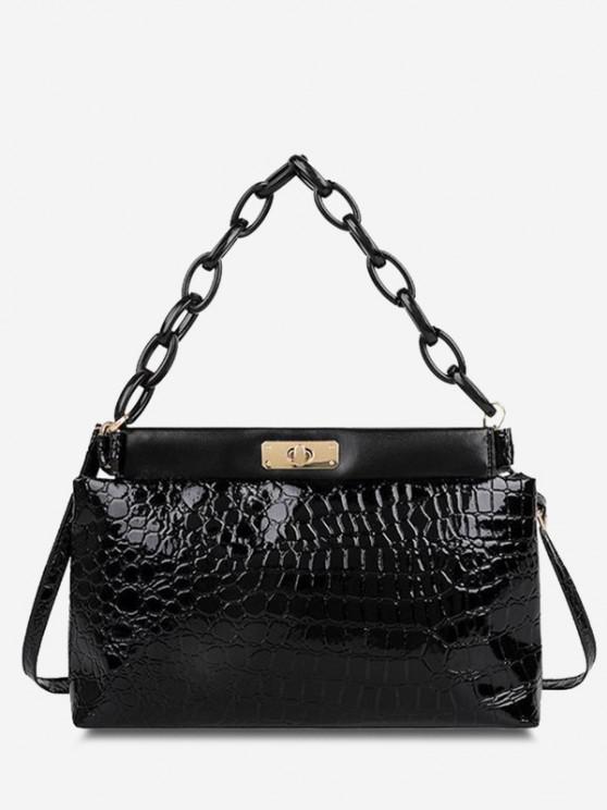 affordable Embossed Twist-Lock Dual Handle Shoulder Bag - BLACK