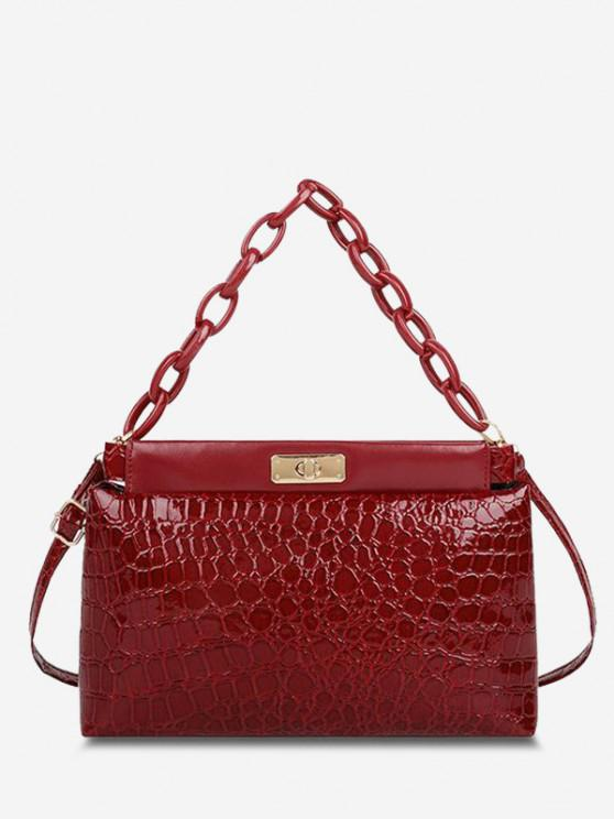 womens Embossed Twist-Lock Dual Handle Shoulder Bag - RED WINE