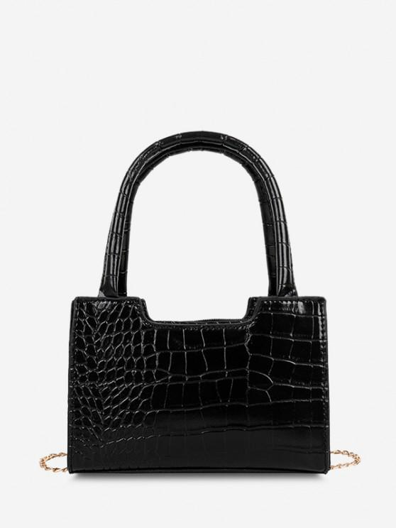 women Solid Embossed Chain Double Handle Tote Bag - BLACK