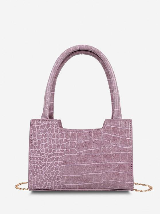 ladies Solid Embossed Chain Double Handle Tote Bag - LILAC