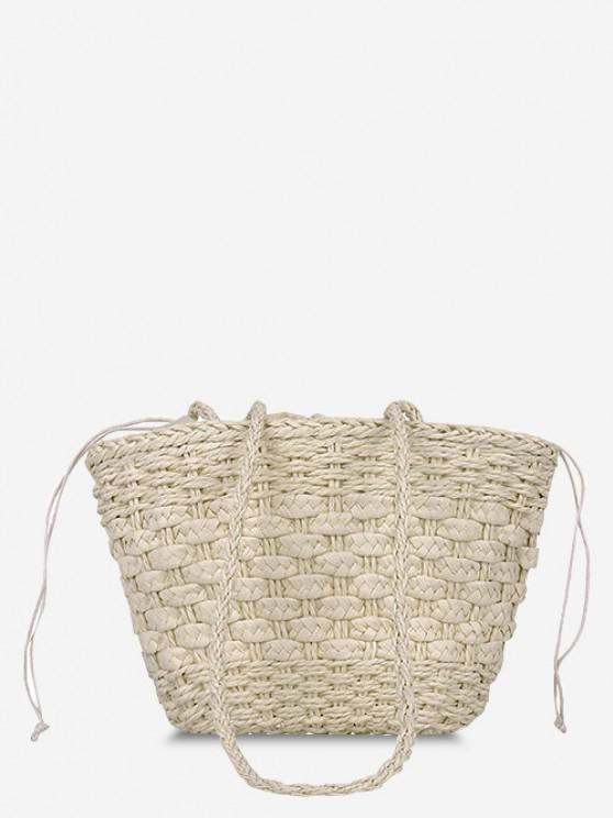 fashion Casual Woven Drawstring Picnic Basket Bag - WARM WHITE