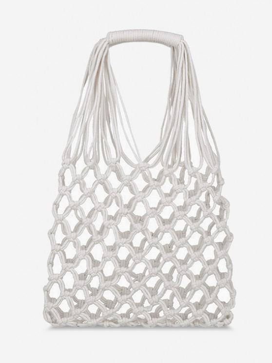 fancy Crochet Fishnet Hollow-Out Tote Bag - WHITE