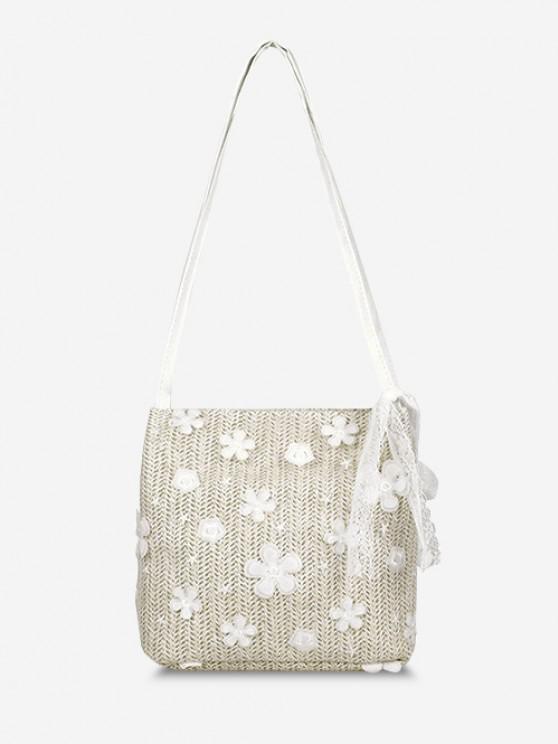 womens Applique Lace Hemp Woven Shoulder Bag - WARM WHITE