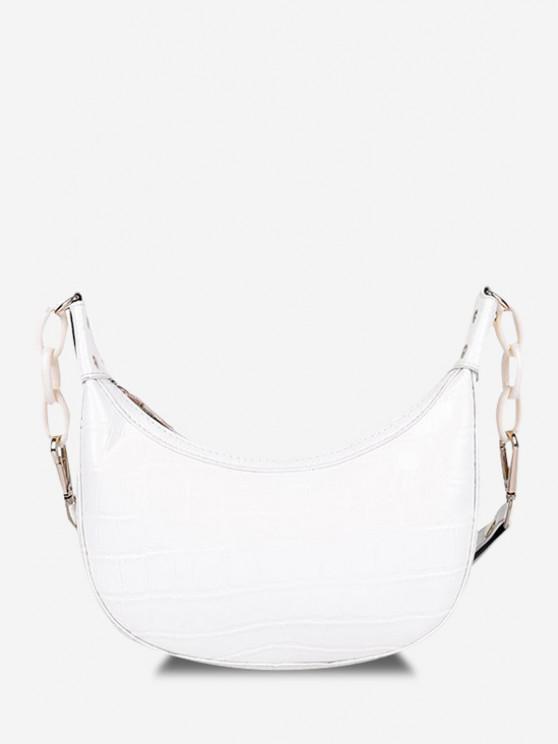 new Embossed Half Chain Shoulder Bag - WARM WHITE