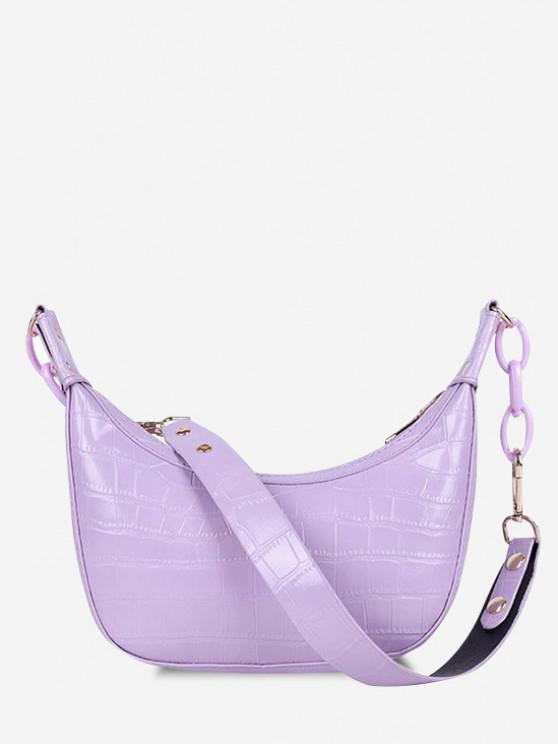 hot Embossed Half Chain Shoulder Bag - LILAC