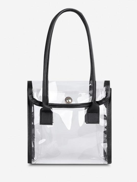 outfits Transparent Binding Square Flap Tote Bag - BLACK