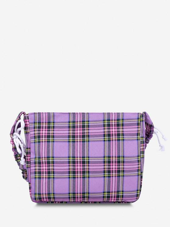 buy Plaid Drawstring Strap Shoulder Bag - MEDIUM PURPLE