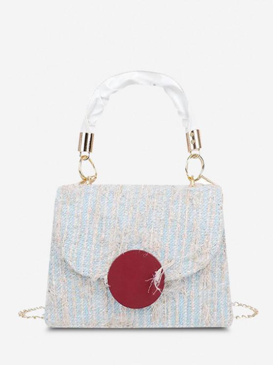 shops Wool Dual Handle Flap Crossbody Bag - SEA BLUE