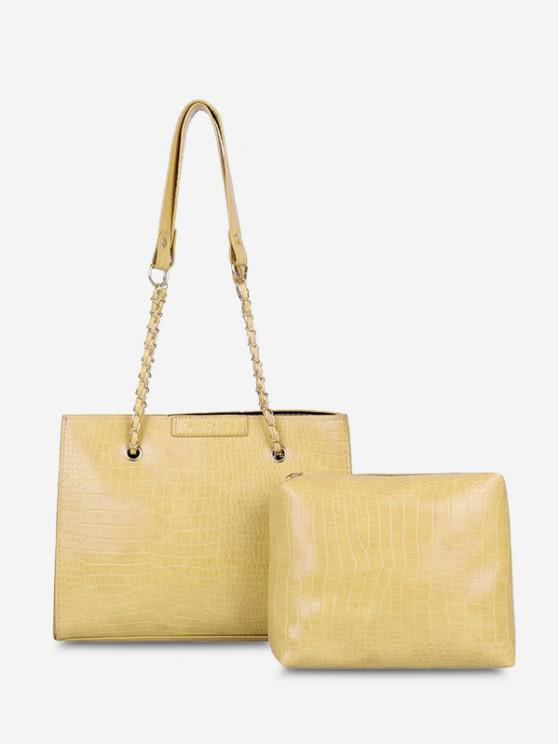 buy 2Pcs Textured Square Shoulder Bag Set - SUN YELLOW