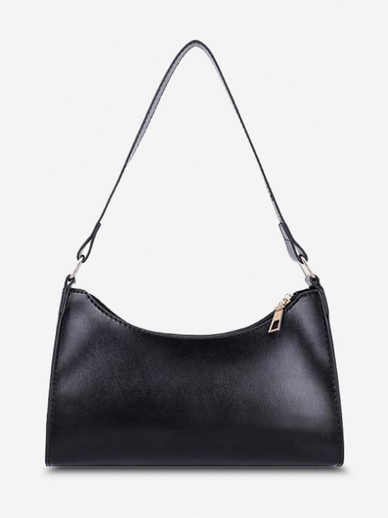 womens Minimalist Solid Shoulder Bag - BLACK