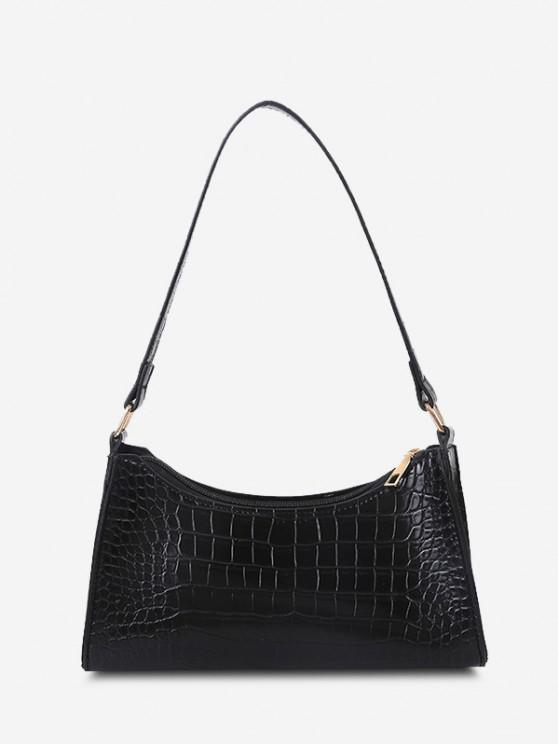 lady PU Stone Print Solid Shoulder Bag - BLACK