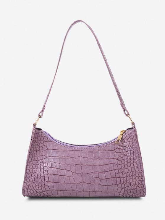 best PU Stone Print Solid Shoulder Bag - LILAC