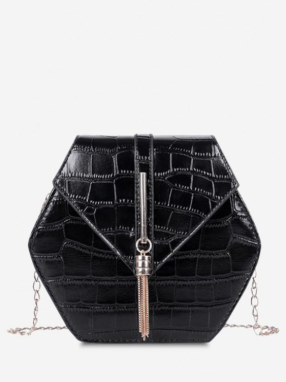 trendy Tassel Hexagon Chain Crossbody Bag - BLACK