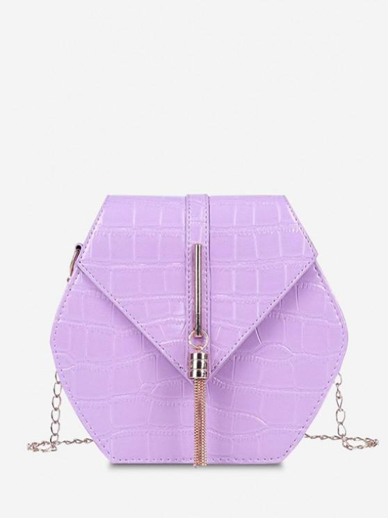 Tassel Hexagon Chain Crossbody Bag - ضوء ارجواني