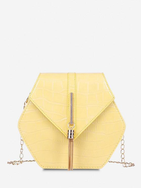 fancy Tassel Hexagon Chain Crossbody Bag - SUN YELLOW
