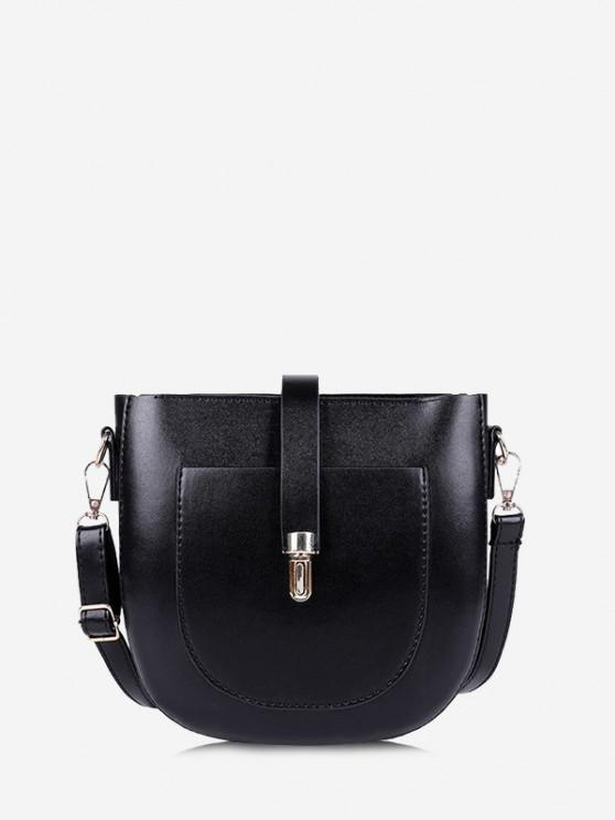 unique Retro Semicircle Crossbody Bag - BLACK