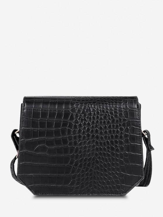 womens Irregular Textured Crossbody Bag - BLACK