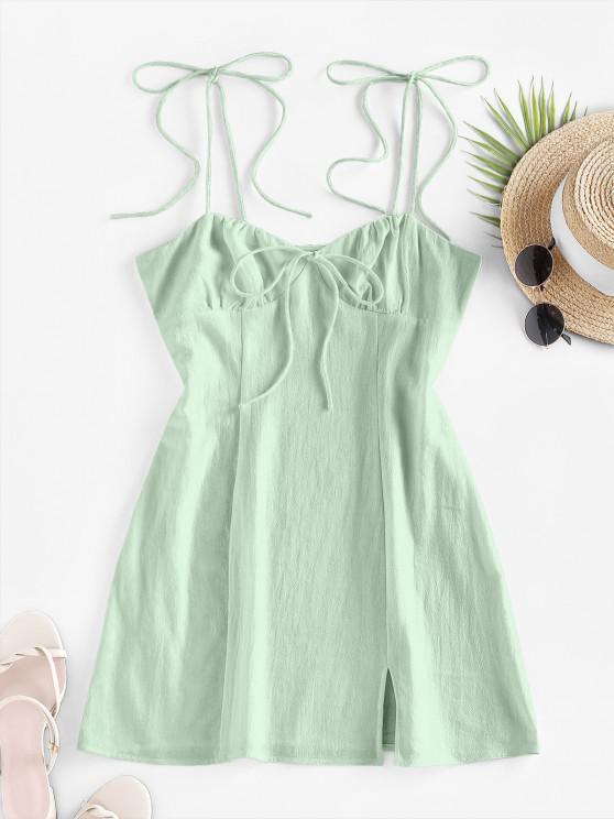 ZAFUL Mini Vestido con Corte de Hombro con Lazo Lazo - Verde claro S