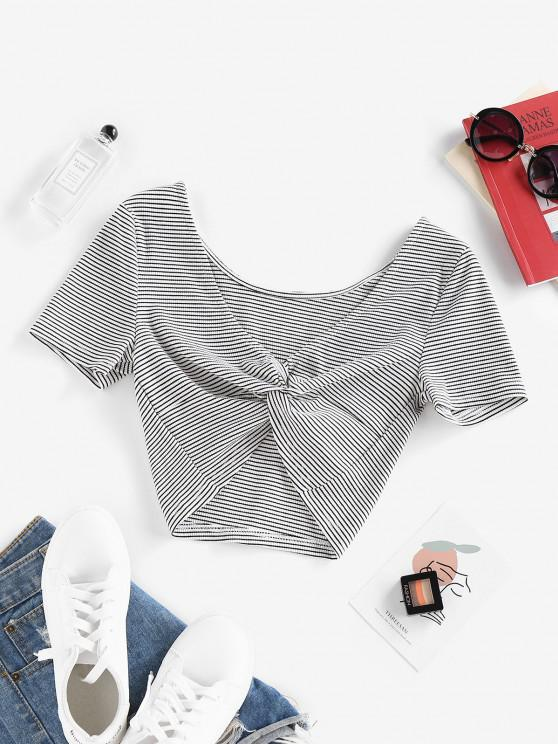 trendy Striped Front Twist Cropped T Shirt - WHITE M
