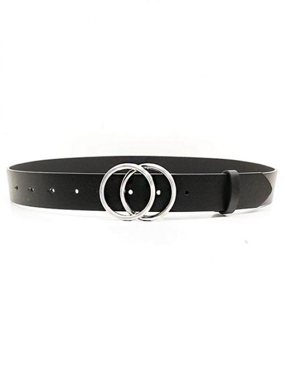 PU Double Round Buckle Solid Belt - أسود