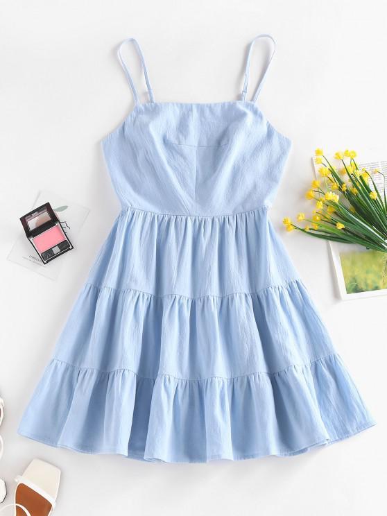 ZAFUL Vestido de Sol de Tirante Fino con Nudo en Capas - Azul claro S