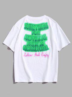 ZAFUL Ombre Letter Print Slogan T-shirt - White L