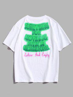 ZAFUL Ombre Letter Print Slogan T-shirt - White Xxxl