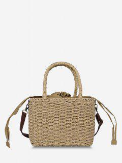 Hemp Woven Drawstring Basket Picnic Bag - Light Brown