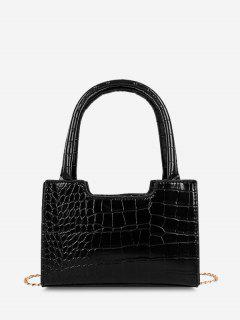 Solid Embossed Chain Double Handle Tote Bag - Black